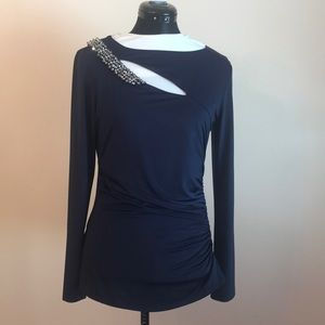 Cache Navy silky embellished top